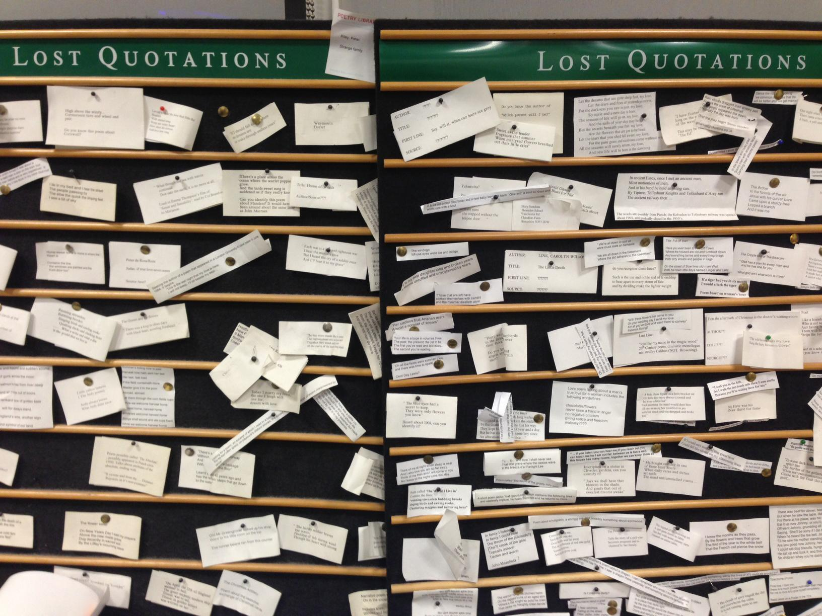 Poetry Library lost quotes board