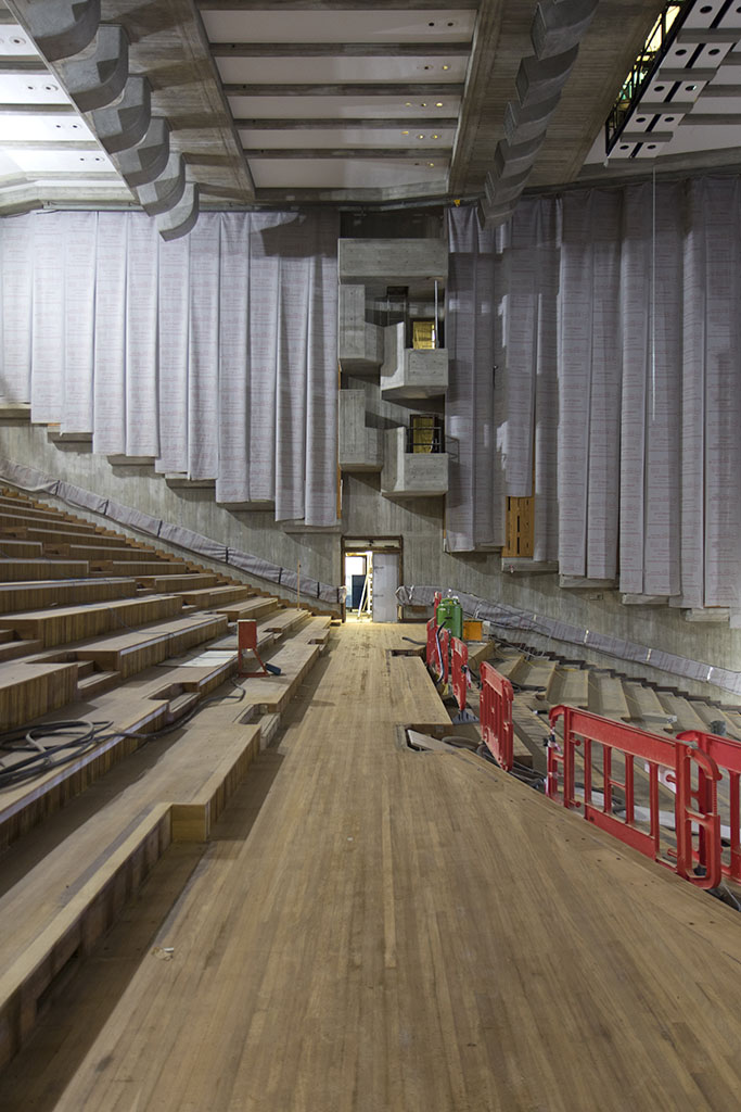 October 2017 - refurbishment of Hayward Gallery, Queen Elizabeth Hall and Purcell Room. Inside the QEH auditorium.