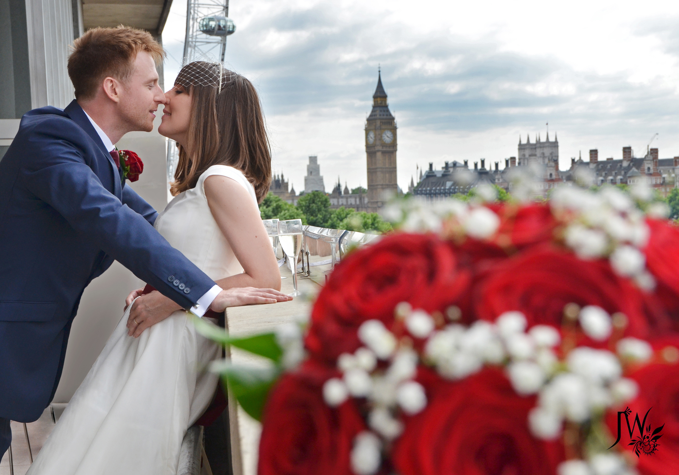 Wedding of Becky and Olly - Married Couple on Royal Festival Hall Terrace  CREDIT Jennifer West 2013