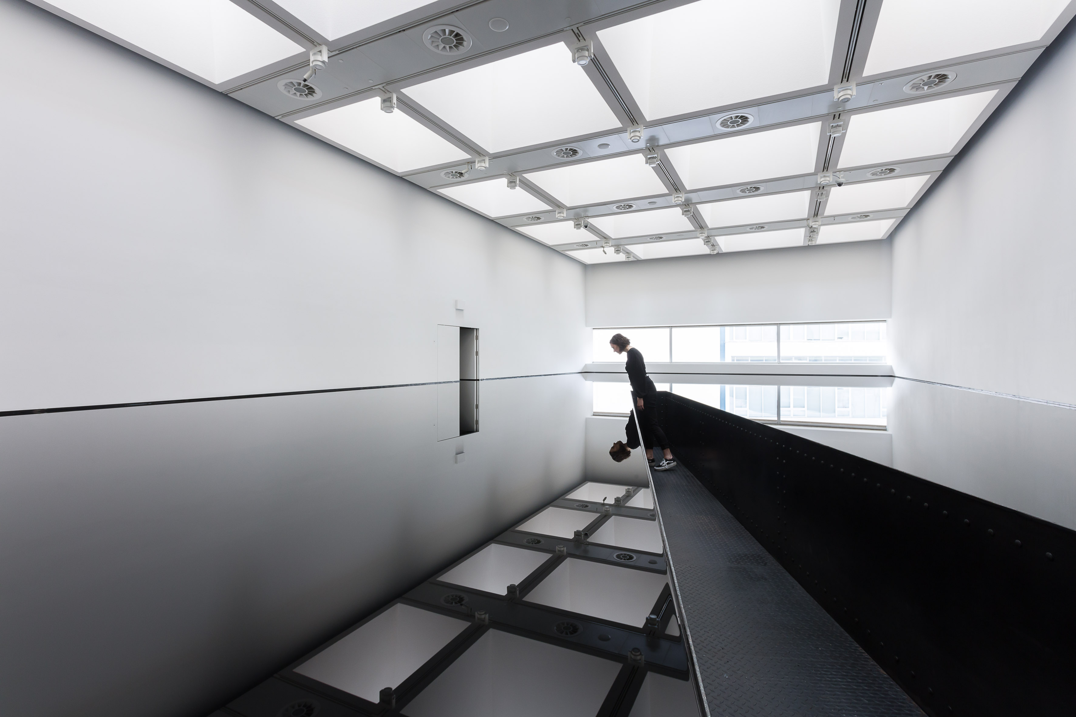 Installation view of Richard Wilson's 20:50 (1987) at Space Shifters, Hayward Gallery 2018. Photo: Mark Blower